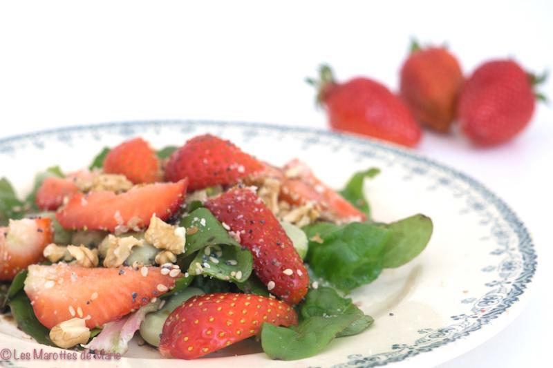 salade fraises feves vegan 1