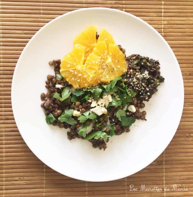 2020 03 19 Salade lentilles agrumes les marottes de marie vegan